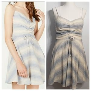 TRIXXI junior striped ruched fit and flare dress